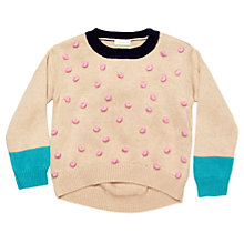 Buy Margherita Kids Girls' Pom Pom Knitted Jumper, Neutral Online at johnlewis.com