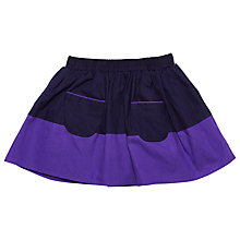 Buy Margherita Kids Girls' Colour Block Patch Pocket Skirt, Black/Purple Online at johnlewis.com