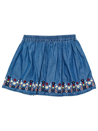 Buy Margherita Kids Girls' Embroidered Chambray Skirt, Blue, 3 years Online at johnlewis.com