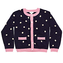Buy Margherita Kids Girls' Dot Knitted Cardigan, Eclipse/Pink Online at johnlewis.com
