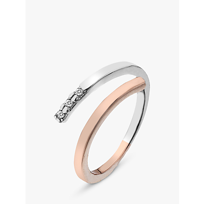 Image of Hot Diamonds Two Tone Ring, Silver/Rose Gold