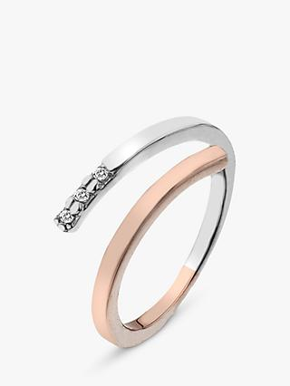 Hot Diamonds Two Tone Ring, Silver/Rose Gold