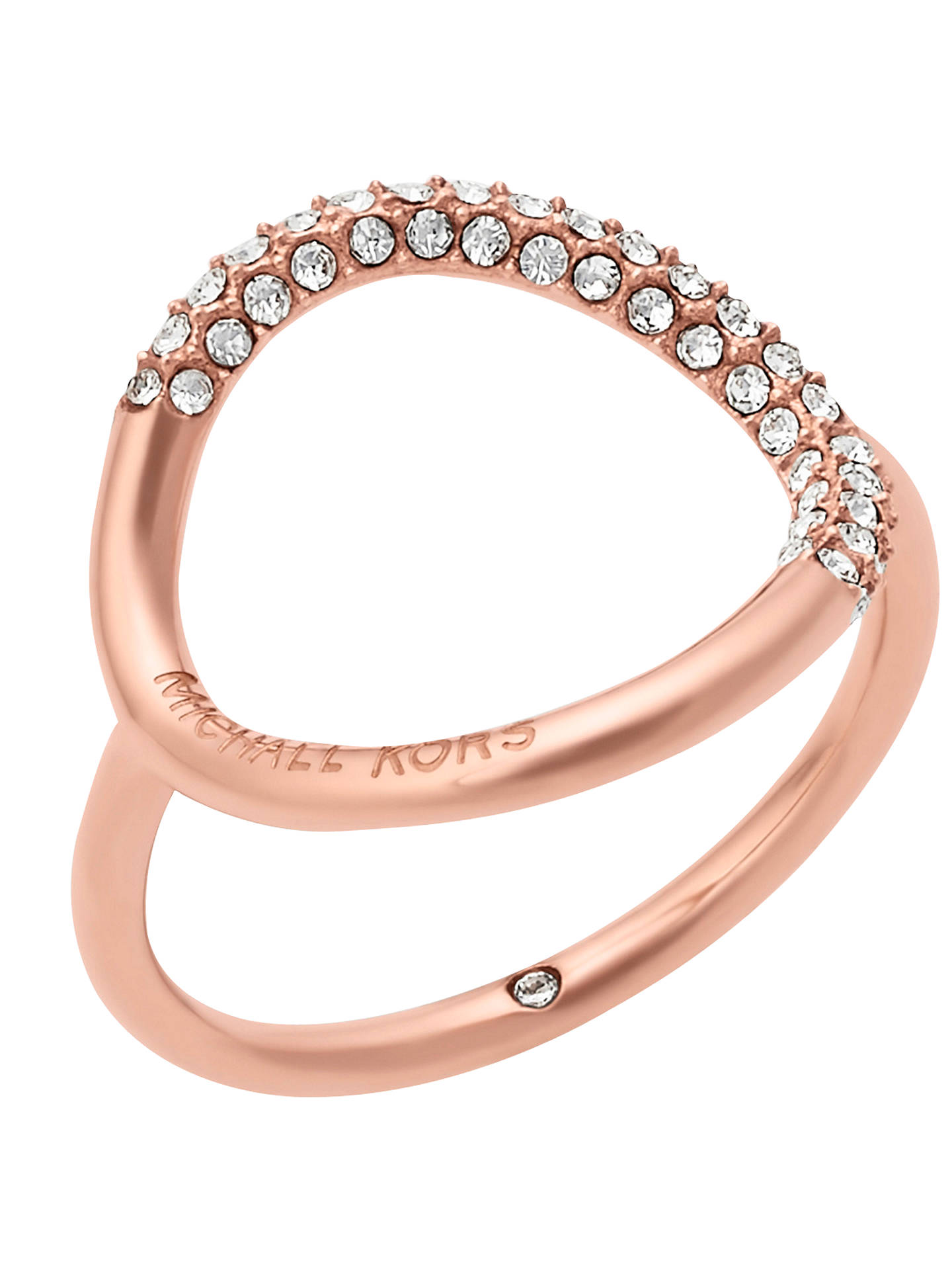 Michael Kors Open Circle Crystal Pavé Ring Rose Gold L½ Online At Johnlewis