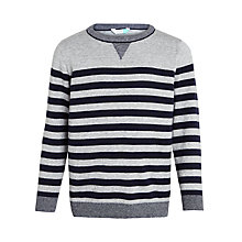 Buy John Lewis Boys' Bretton Stripe Jumper, Grey/Navy Online at johnlewis.com