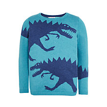 Buy John Lewis Boys' Dinosaur Intarsia Knit Jumper, Turquoise Online at johnlewis.com