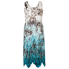 Buy Chesca Printed Ombre Crush Pleat Dress, Ivory/Turquoise Online at johnlewis.com