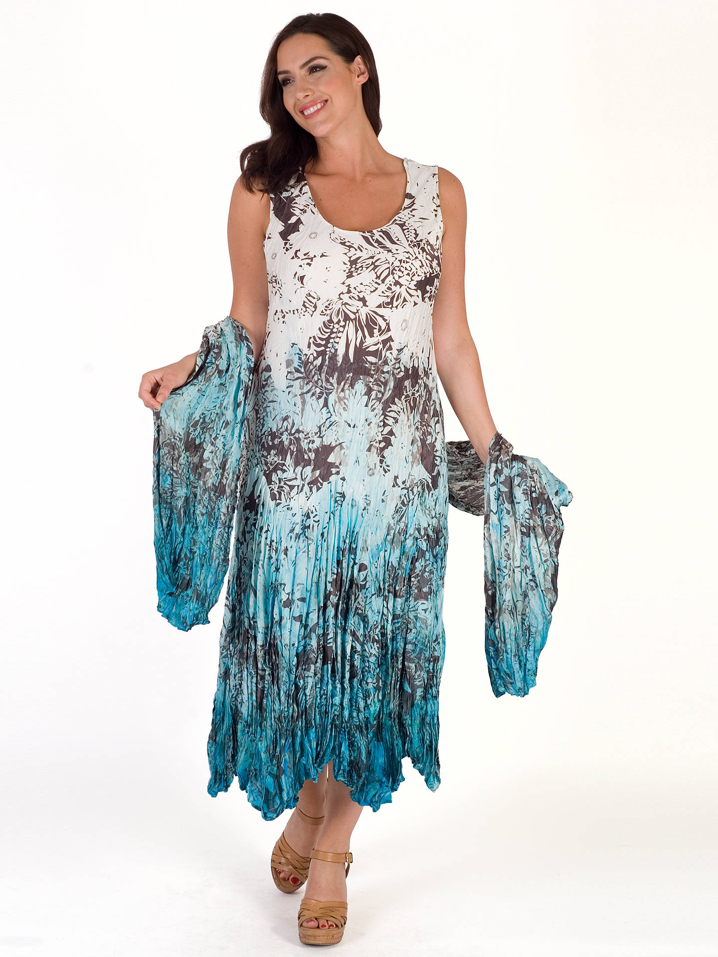 BuyChesca Printed Ombre Crush Pleat Dress, Ivory/Turquoise, 12-14 Online at johnlewis.com