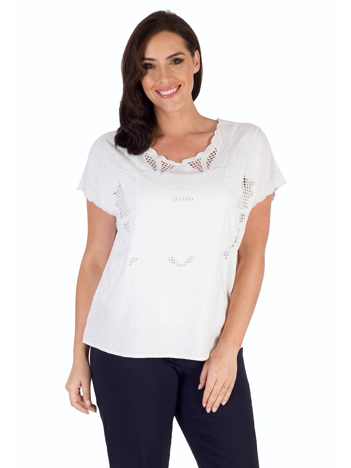 Buy Chesca Embroidered Top, White, 16-18 Online at johnlewis.com