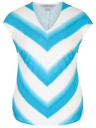 Chesca Ombre Stripe Chevron Jersey Top, Ivory/Turquoise