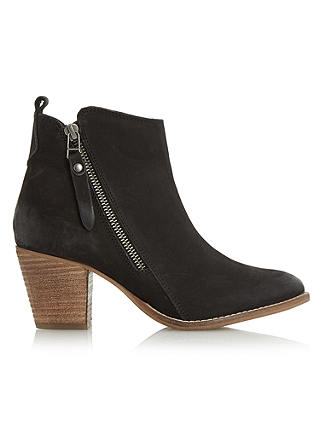 Buy Dune Pontoon Stacked Heel Ankle Boots, Black Nubuck, 3 Online at johnlewis.com
