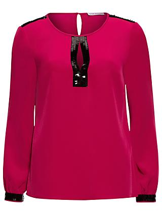 5516925dd44b12 Gina Bacconi Soho Crepe Blouse With Sequin Trim