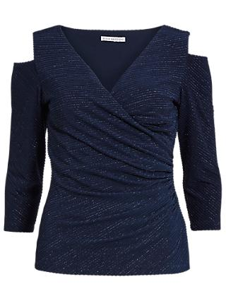 Gina Bacconi 3D Metallic Stripe Knitted Top, Dark Blue