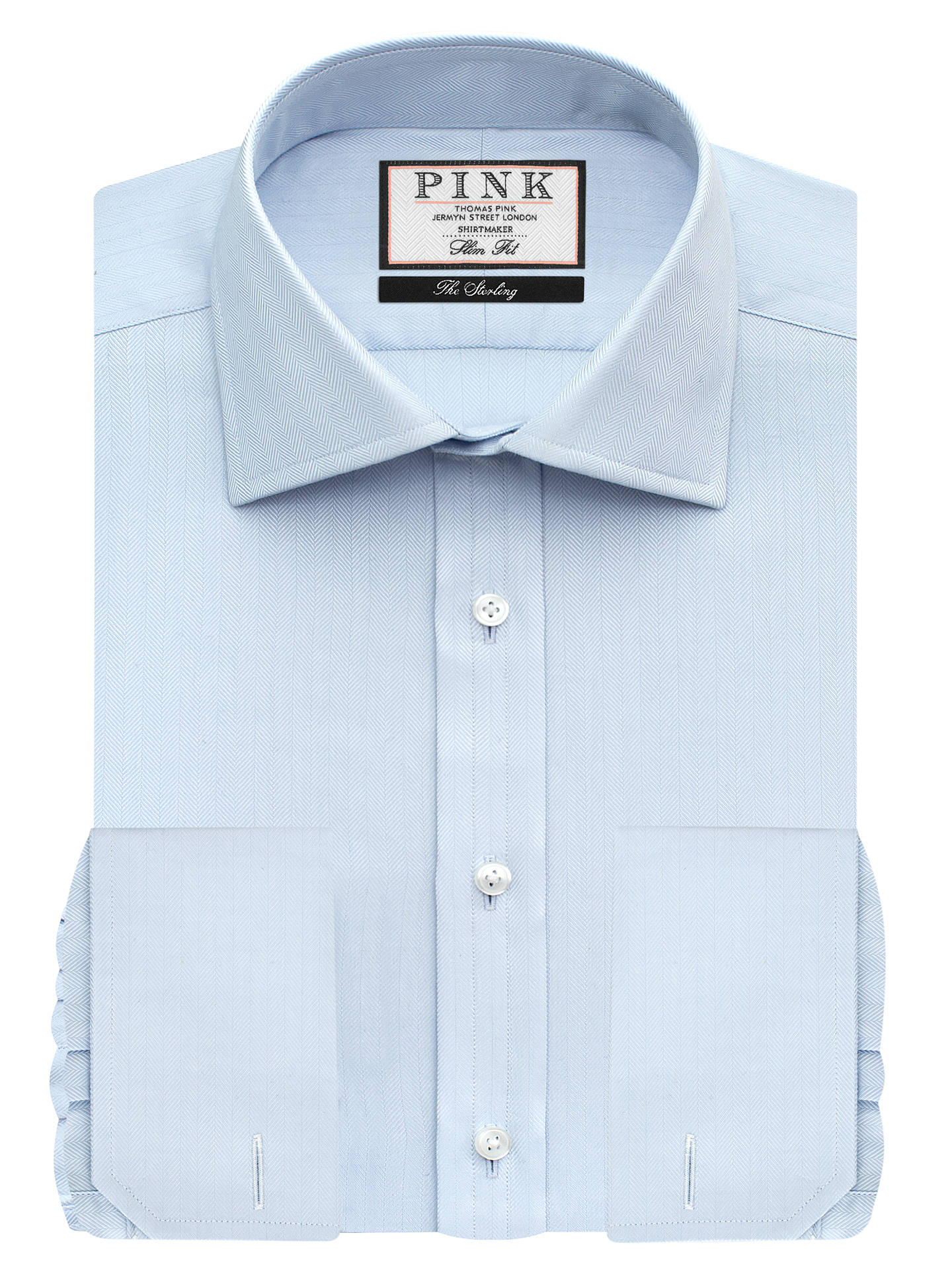 e0a7ac8a Buy Thomas Pink Timothy Texture Double Cuff Slim Fit Shirt, Pale Blue, 16  Online ...