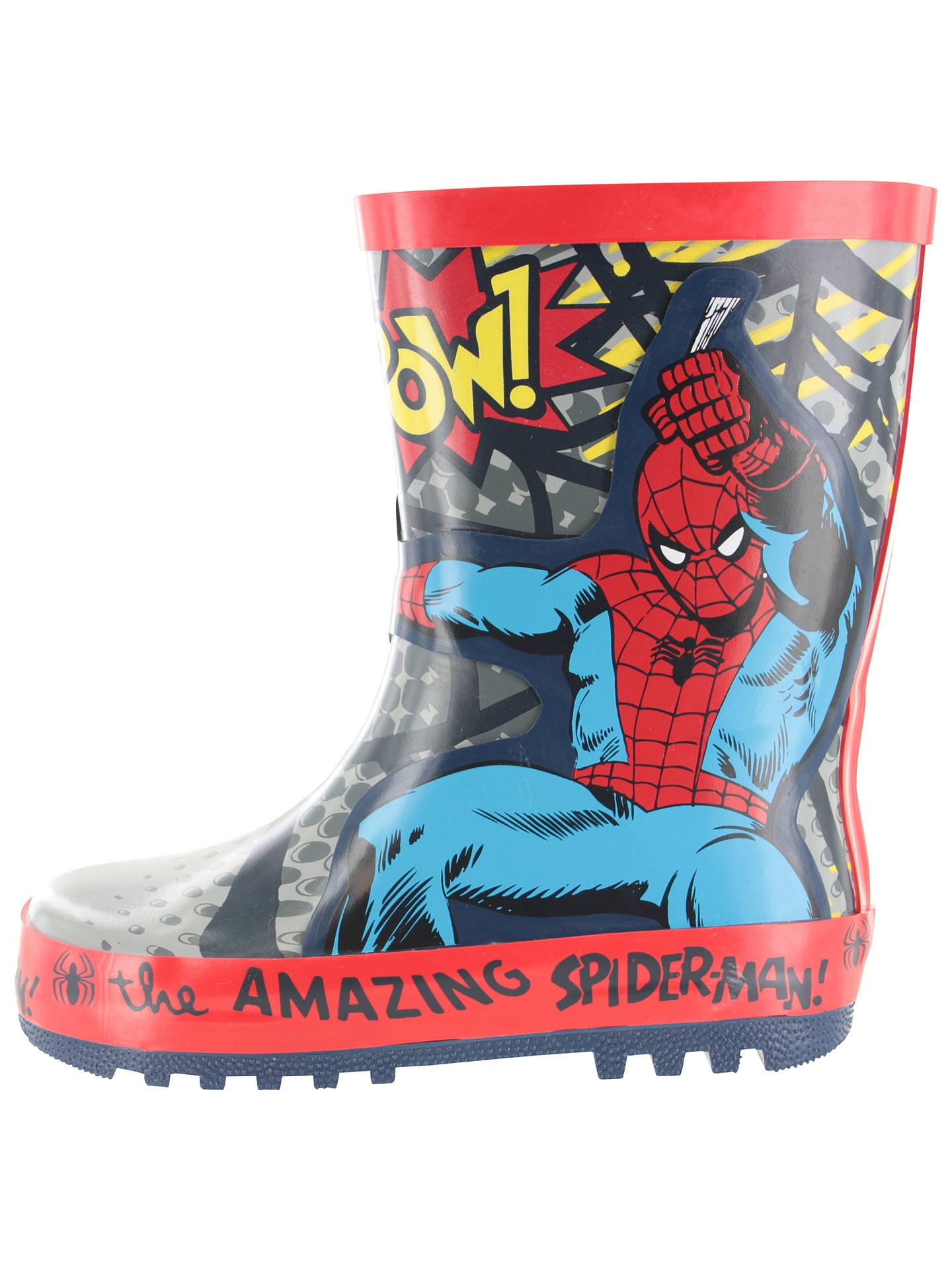 f9eb2c2067c Spider-Man Children's Wellington Boots, Grey/Red at John Lewis ...