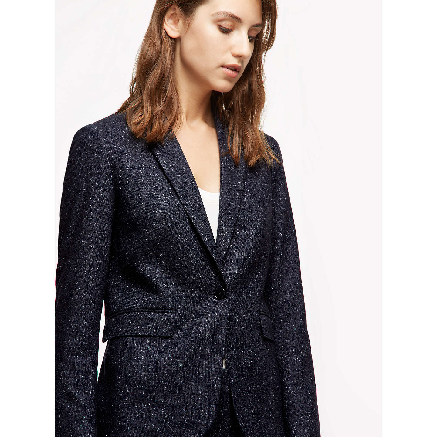 BuyJigsaw Flecked Tailoring London Jacket, Navy, 6 Online at johnlewis.com