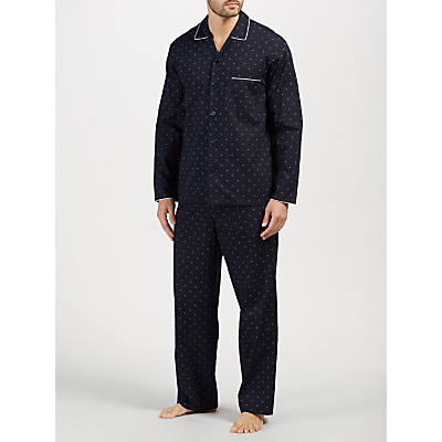 John Lewis Diamond Dot Pyjamas, Navy