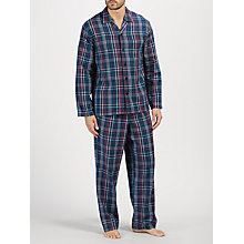 Buy John Lewis Herringbone Check Brushed Cotton Pyjamas, Navy Online at johnlewis.com