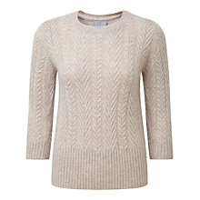 Buy Pure Collection Reese Cashmere Lofty Cable Jumper, Marble Online at johnlewis.com