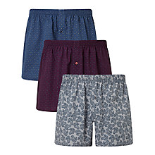Buy John Lewis Paisley Woven Cotton Boxers, Pack of 3, Blue/Burgundy/White Online at johnlewis.com