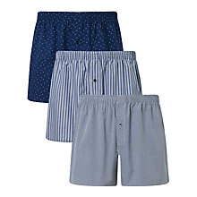 Buy John Lewis Parley Pattern Woven Cotton Boxers, Pack of 3, Navy Online at johnlewis.com