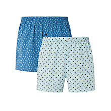 Buy John Lewis Tropical Woven Cotton Boxer Shorts, Blue Online at johnlewis.com