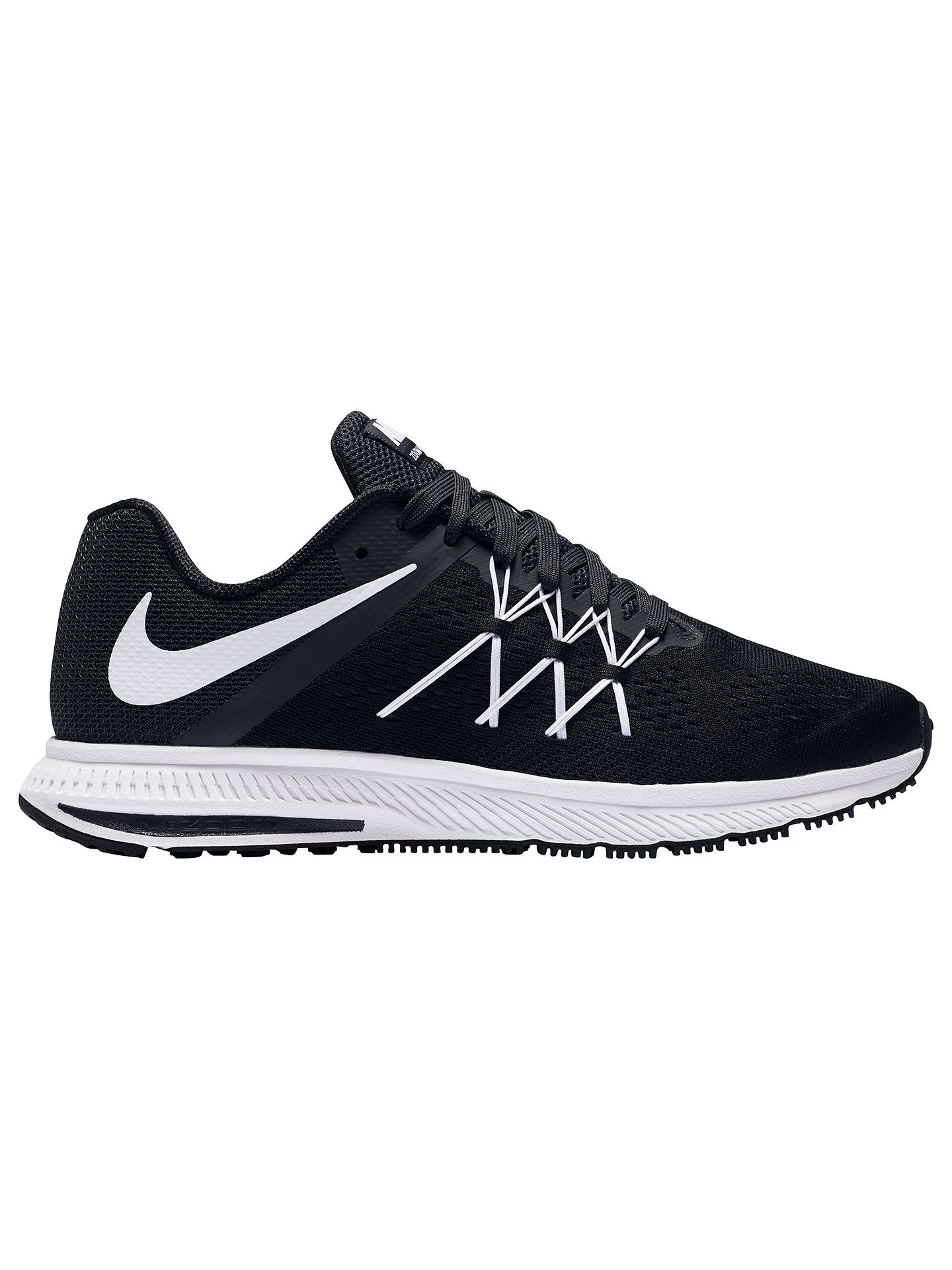 new product 73b40 e51d2 Nike Air Zoom Winflo 3 Men's Running Shoes, Black/White at ...