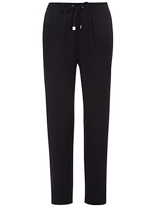 Jaeger Crepe Drawstring Trousers, Navy