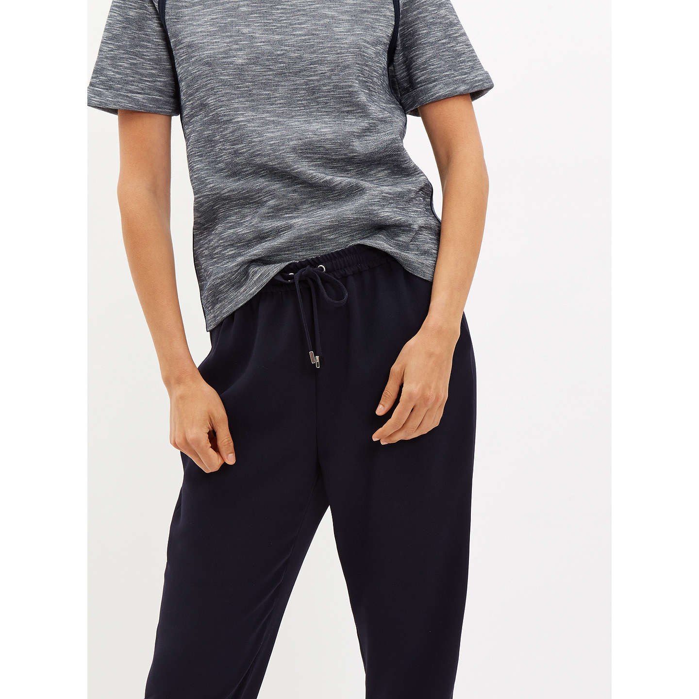 BuyJaeger Crepe Drawstring Trousers, Navy, 6 Online at johnlewis.com
