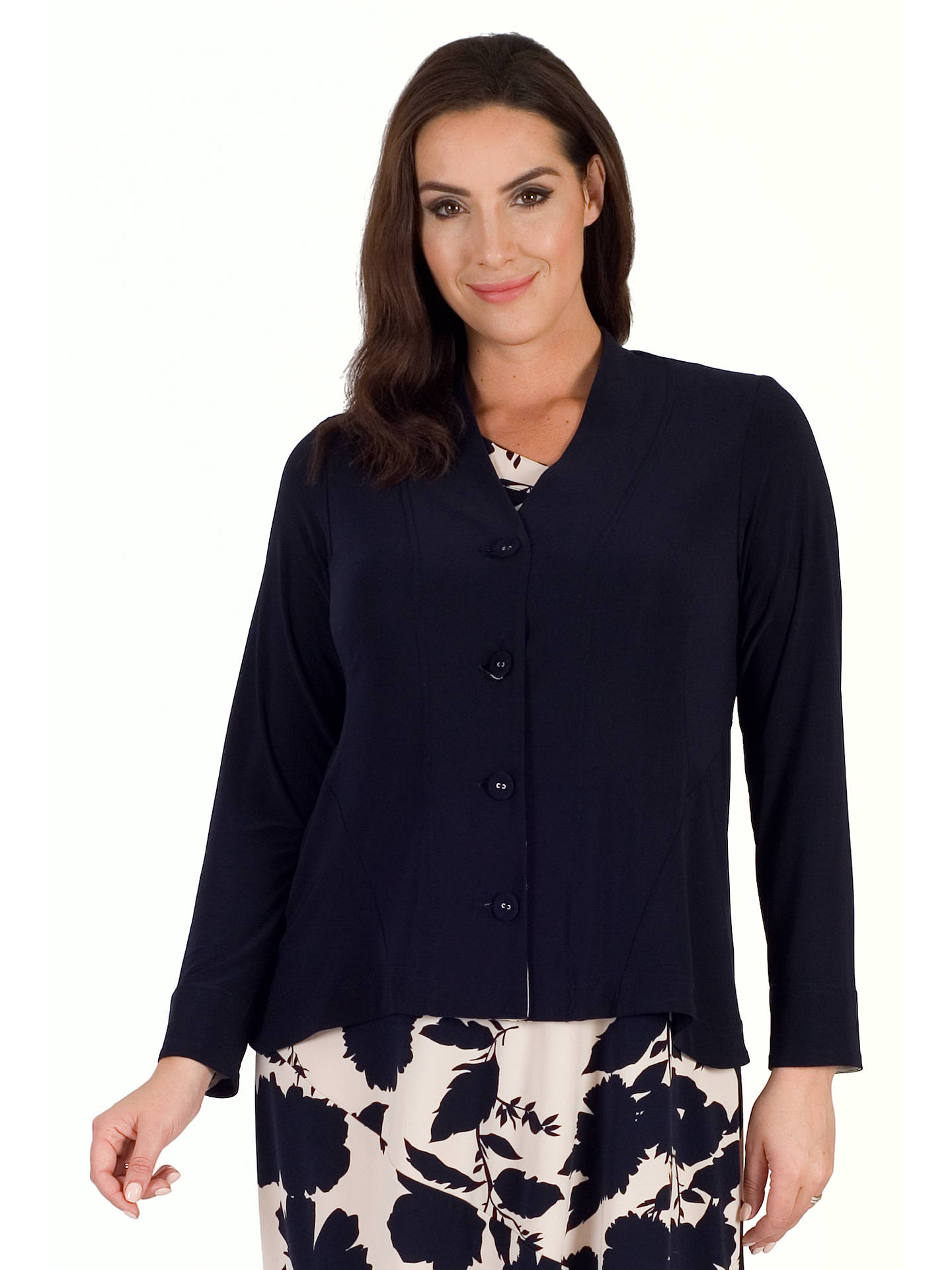 Buy Chesca Jersey Shrug With Contrast Print Trim, Navy, 12-14 Online at johnlewis.com