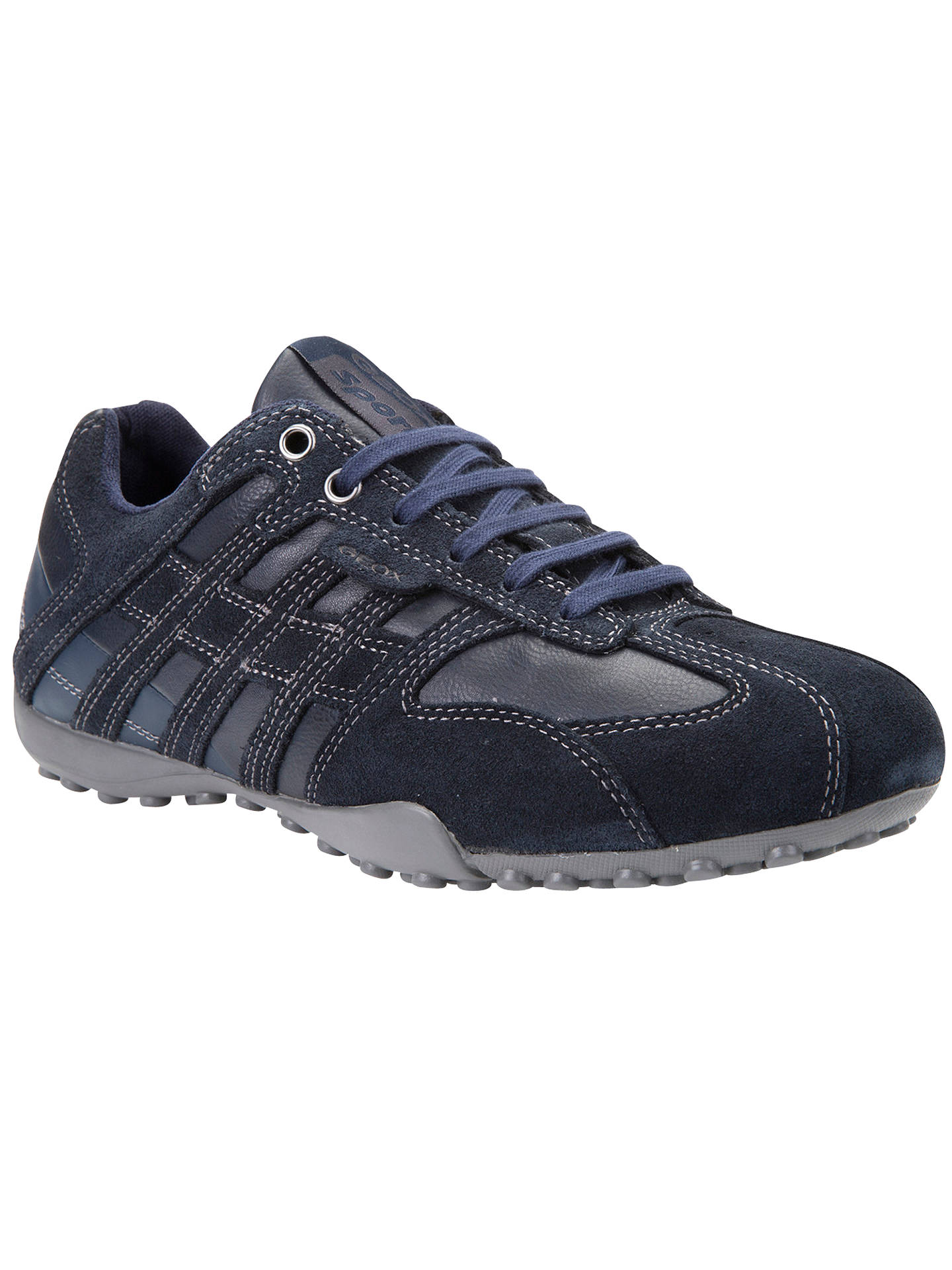 98bb6d7e4fa BuyGeox Leather and Suede Snake Trainers, Navy, 6 Online at johnlewis.com  ...