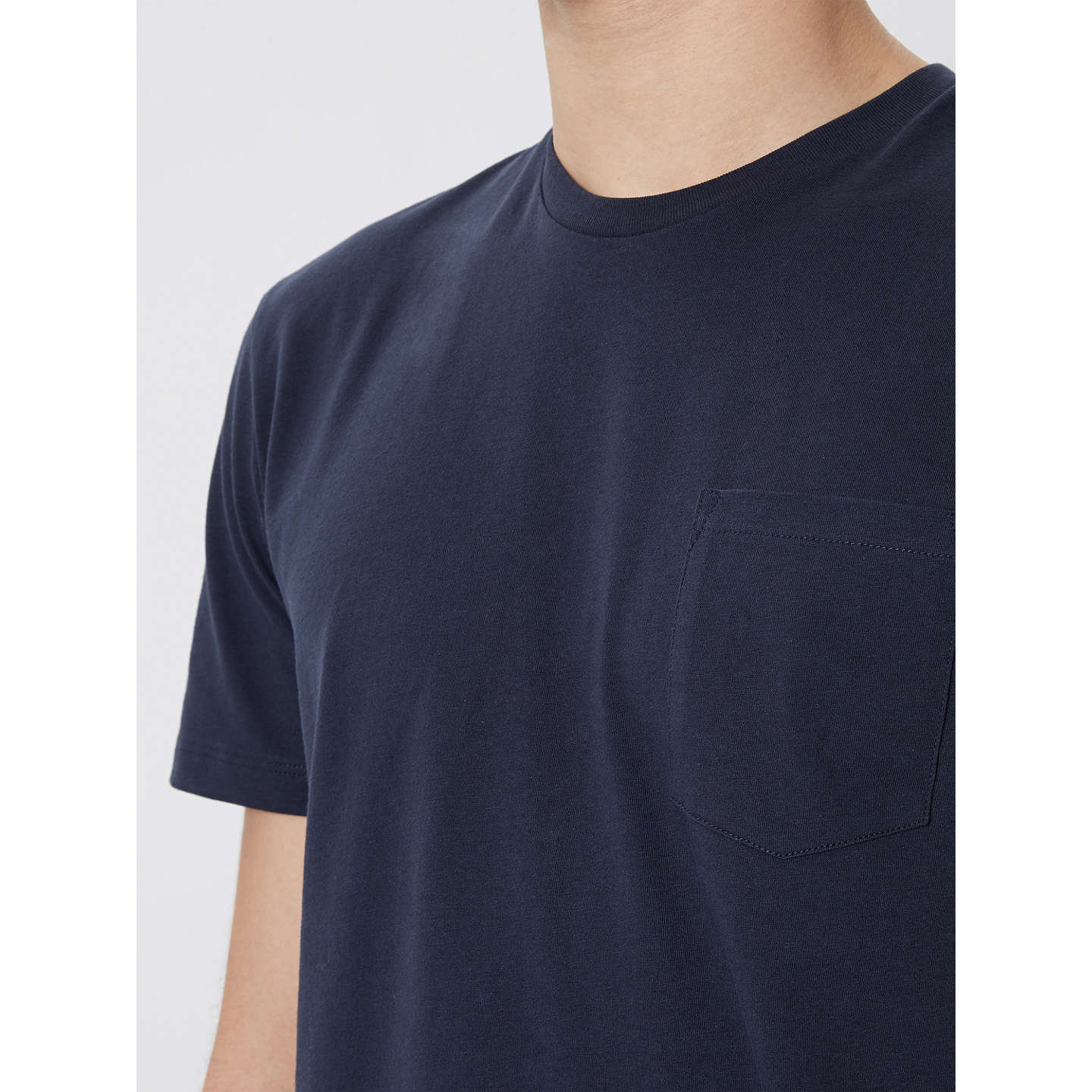 BuyJaeger Organic Cotton T-Shirt, Navy, S Online at johnlewis.com