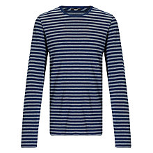 Buy Denham Signature Crew Long Sleeve Stripe T-Shirt, One Year Blue Online at johnlewis.com