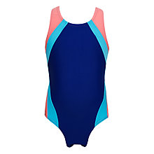 Buy John Lewis Girls' Colour Block Racer Back Swimsuit Online at johnlewis.com