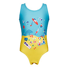 Buy John Lewis Girls' Beach Print Swimsuit, Royal Blue Online at johnlewis.com