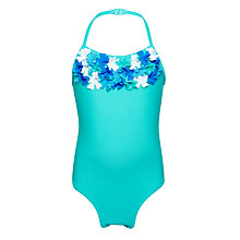 Buy John Lewis Girls' Applique Flower Swimsuit, Jade Online at johnlewis.com