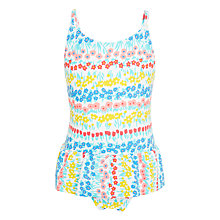 Buy John Lewis Girls' Linear Floral Print Swimsuit, Multi Online at johnlewis.com