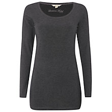Buy White Stuff Joy Longline Jersey T-Shirt, Charcoal Marl Online at johnlewis.com