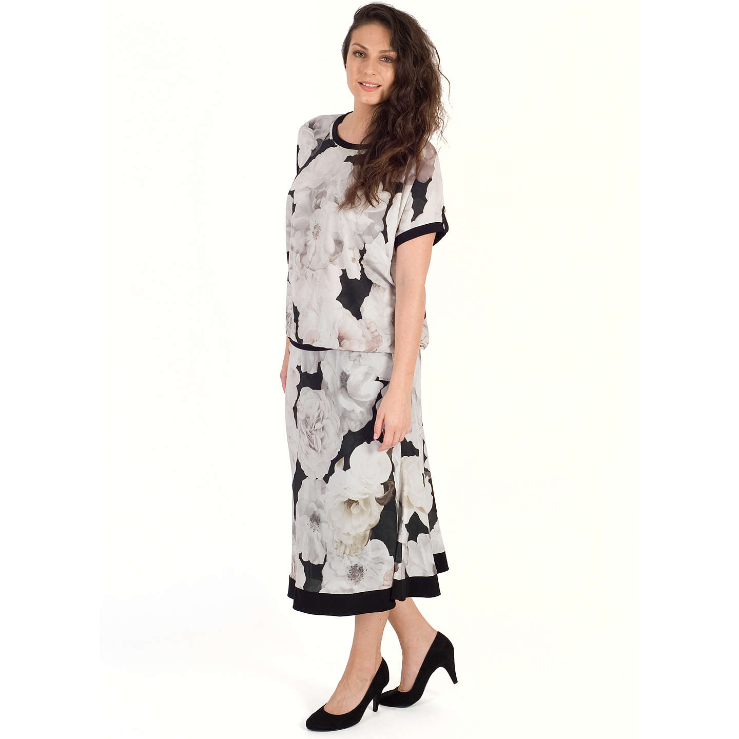 BuyChesca Contrast Trim Rose Print Skirt , Blush, 12-14 Online at johnlewis.com