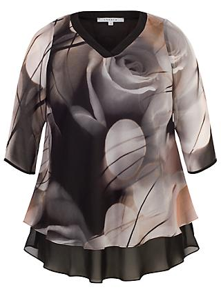 Chesca Misty Rose Tunic Top, Black/Nude