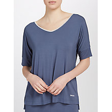 Buy DKNY Short Sleeve V-Neck Pyjama Top, Blue Online at johnlewis.com