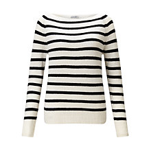 Buy Jigsaw Edie Stripe Cashmere Sweater, Black Online at johnlewis.com
