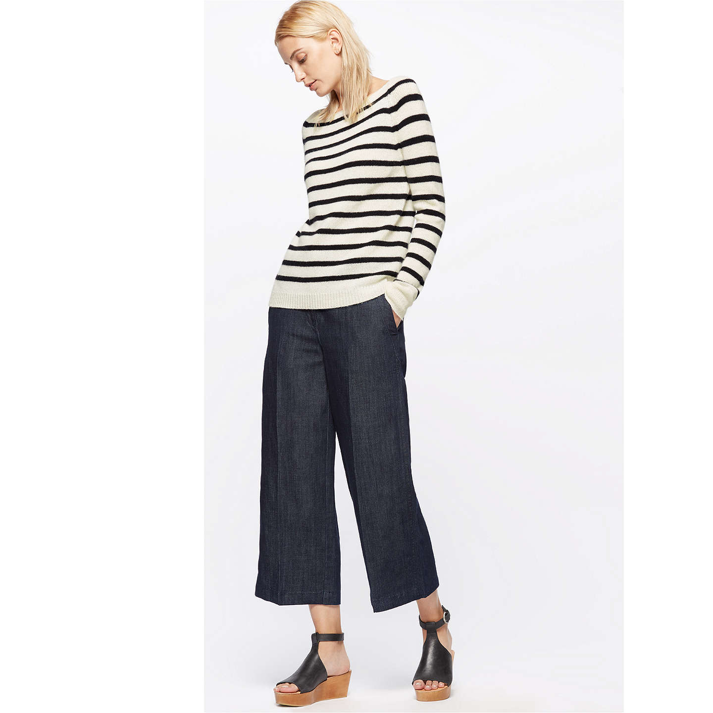BuyJigsaw Edie Stripe Cashmere Sweater, Black, XS Online at johnlewis.com