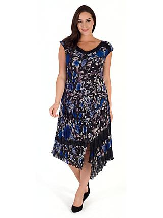 Chesca Floral Print Dress, Cobalt/Multi