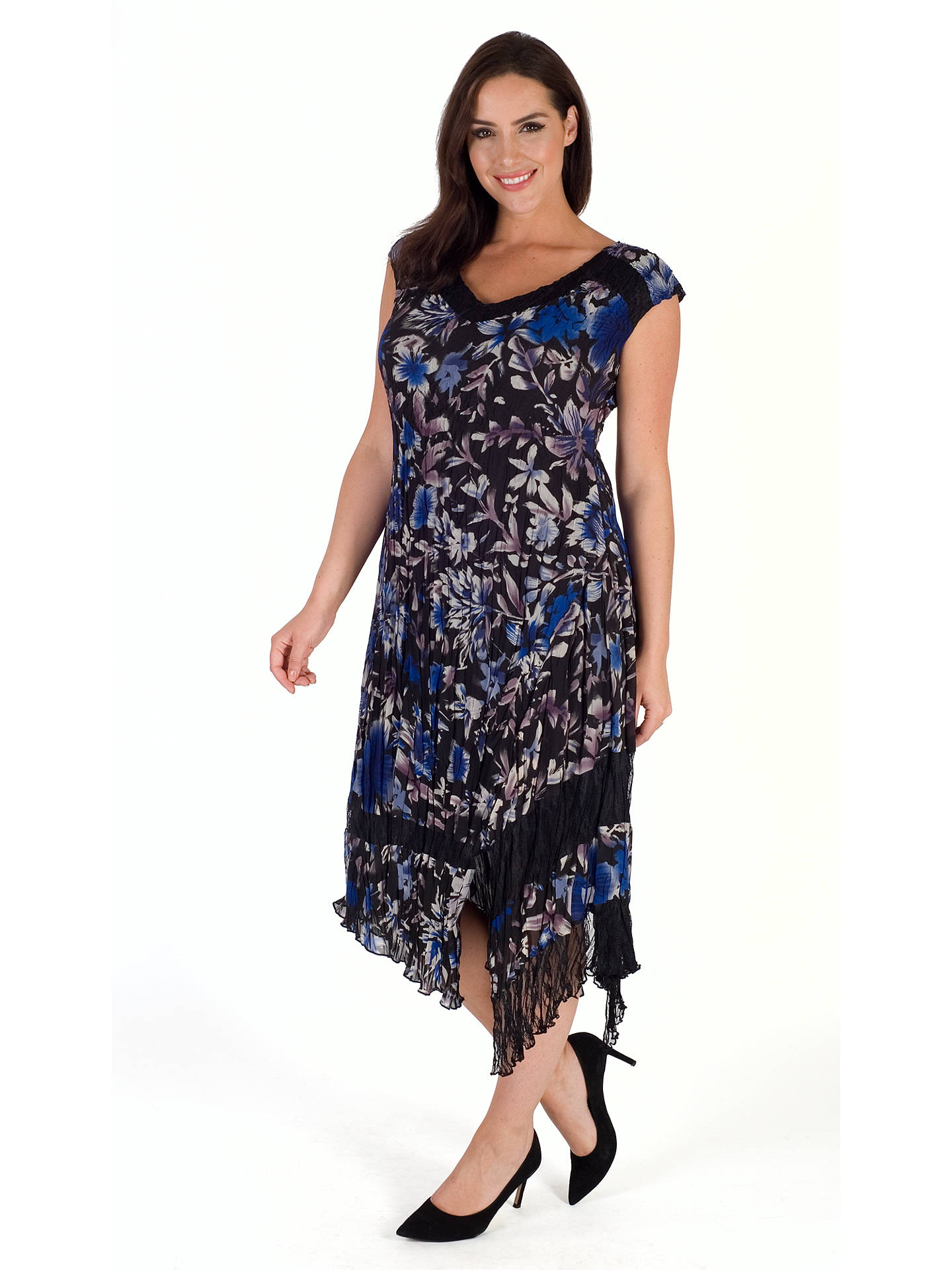 BuyChesca Floral Print Dress, Cobalt/Multi, 20-22 Online at johnlewis.com