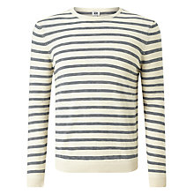 Buy Kin by John Lewis Jaspe Stripe Crew Neck Jumper, Neutral/Navy Online at johnlewis.com