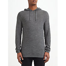 Buy Kin by John Lewis Seed Stitch Merino Knit Hoodie, Grey Melange Online at johnlewis.com