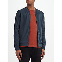 Buy Kin by John Lewis Textured Cotton Bomber Jacket, Blue Online at johnlewis.com