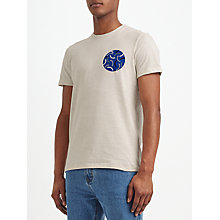 Buy Kin by John Lewis Cut Curve Embroidered Print T-Shirt, Stone Online at johnlewis.com