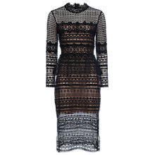Buy French Connection Lace Beau Midi Dress, Black Online at johnlewis.com