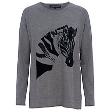 Buy French Connection Zebra Appliqué Jumper, Mid Grey Mel Online at johnlewis.com